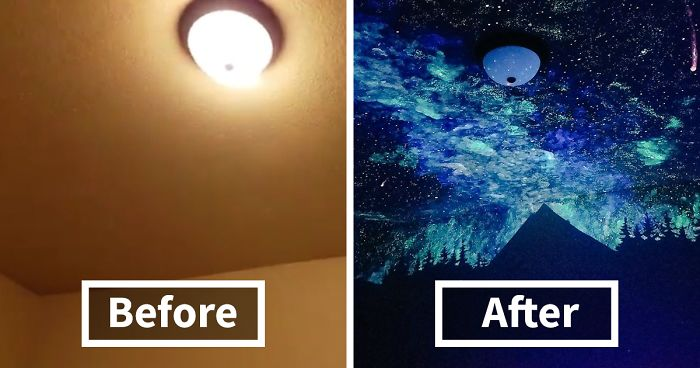 Woman Creates Glow In The Dark Galaxy Painting For Boy Who Couldnt