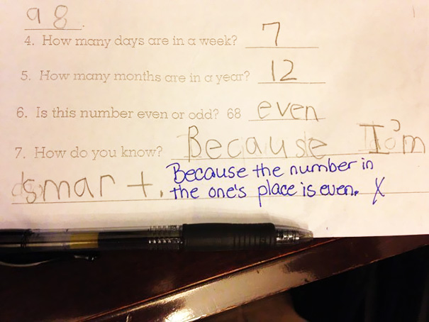 My Six Year Old Got The Answer Wrong, But I Think She's Right
