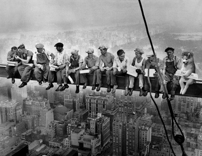 Lunch Break Atop Rockefeller Plaza Construction