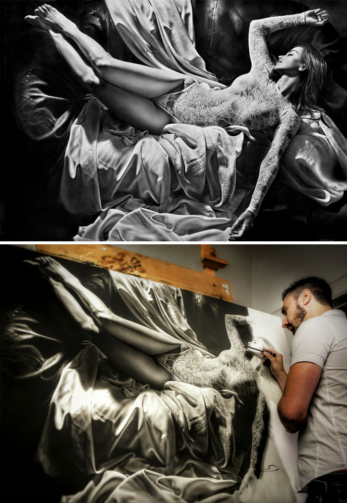 Charcoal And Graphite Drawing By Emanuele Dascanio