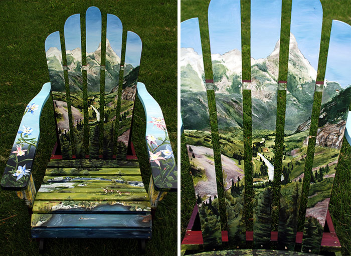 I Paint Vibrant Landscapes On Boring Patio Chairs