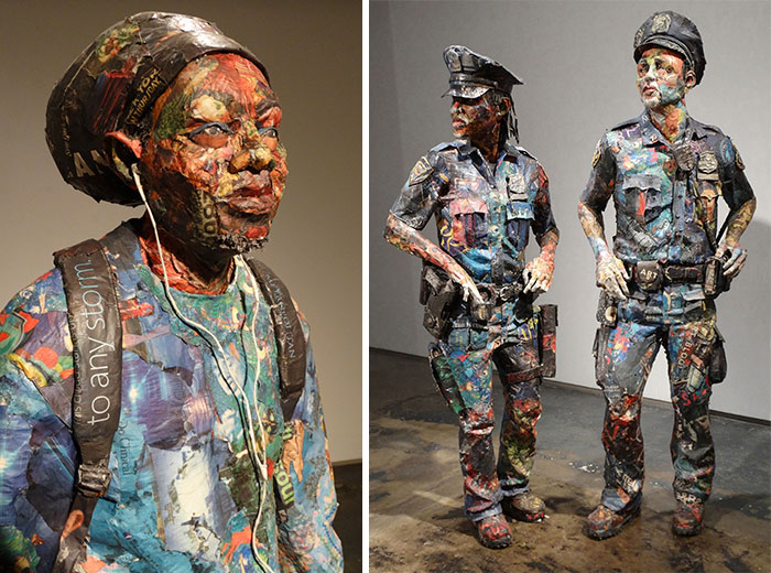 I Use Newspapers And Magazines To Create Sculptures Of People I Meet