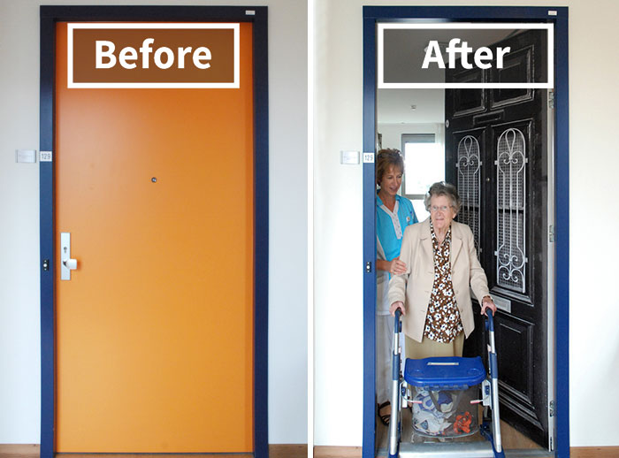 Company Recreates Doors Of Dementia Patients' Houses To Help Them Find Rooms And Feel At Home