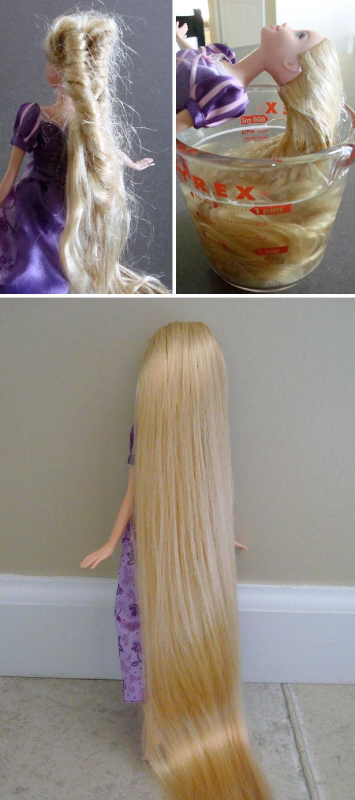 Desenreda el pelo de las muñecas con detergente lavaplatos y acondicionador capilar