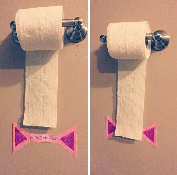 """Put A """"You Shall Not Pass"""" Sign To Teach Your Kids How To Save Toilet Paper"""