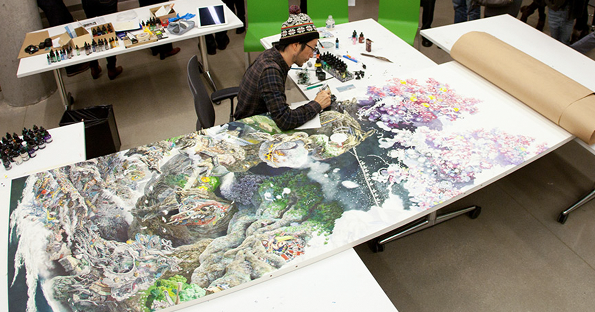 Japanese Artist Worked 10 Hours/Day For 3.5 Years To Create His Giant Pen & Ink Drawing