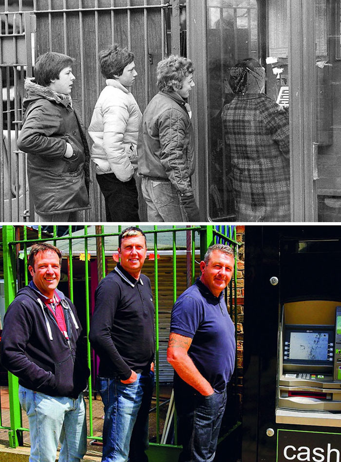 Queuing For The Phone (1981 And 2016)