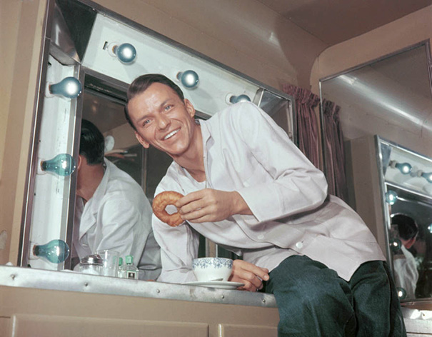 35-Year-Old Frank Sinatra Enjoys Coffee And Donuts In His Trailer During A Break In Filming, 1950