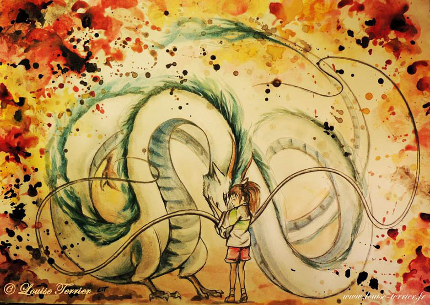 Haku And Chihiro Indian Ink Painting By Louise Terrier