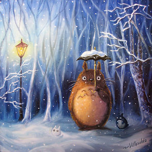 Totoro And Winter Oil Painting By Villasukka