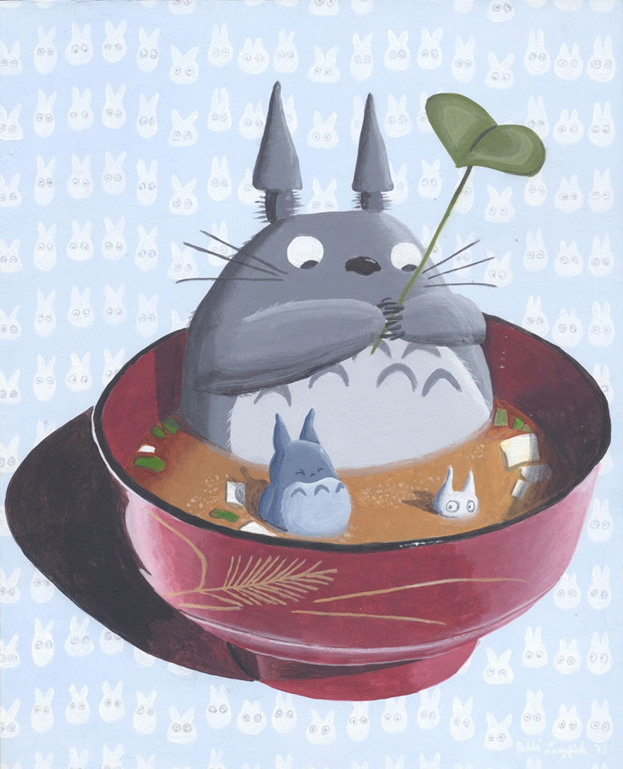 Totoro In Miso Acrylic Painting By Nikki Lukas Longfish