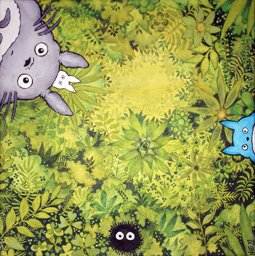 Totoro's Forest Acrylic Painting By Sigyn85