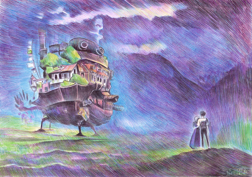 Howl's Moving Castle Ballpoint Pen Drawing By Marite Desaine