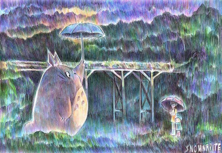 Totoro Ballpoint Pen Drawing By Marite Desaine