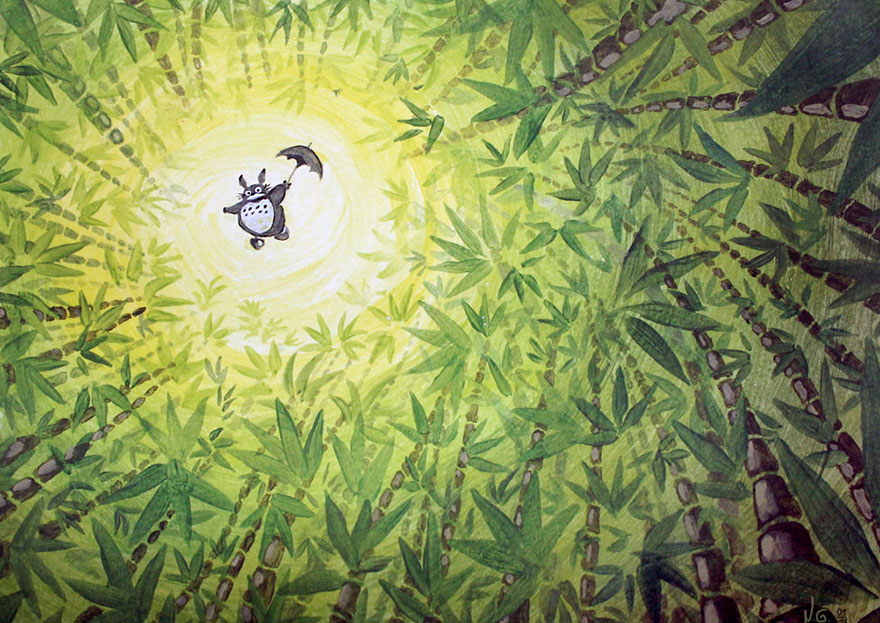 Totoro Flying Acrylic Painting By Sigyn85