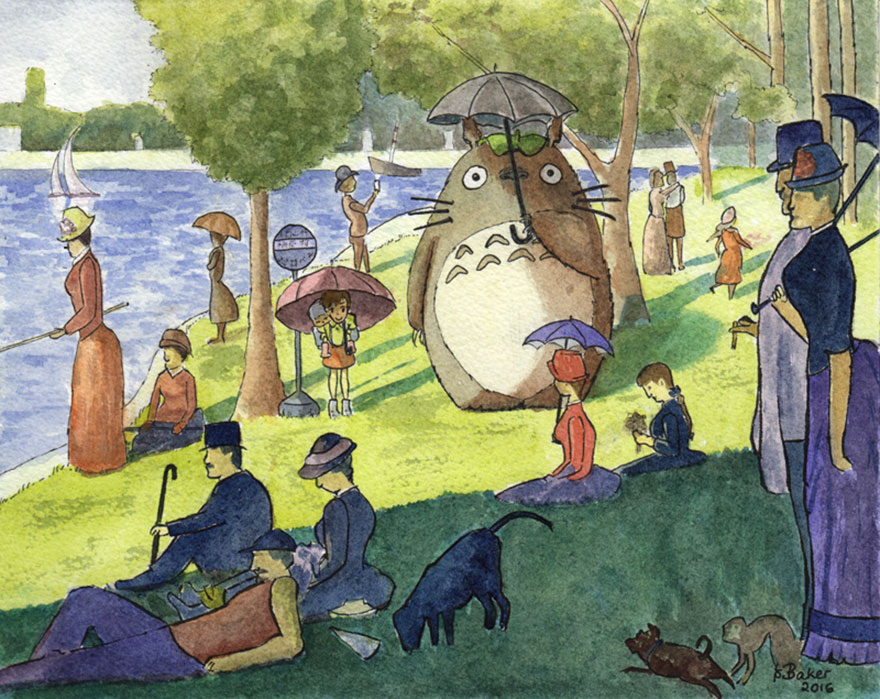 Seurat Meets Miyazaki Painting By Lindsay Baker