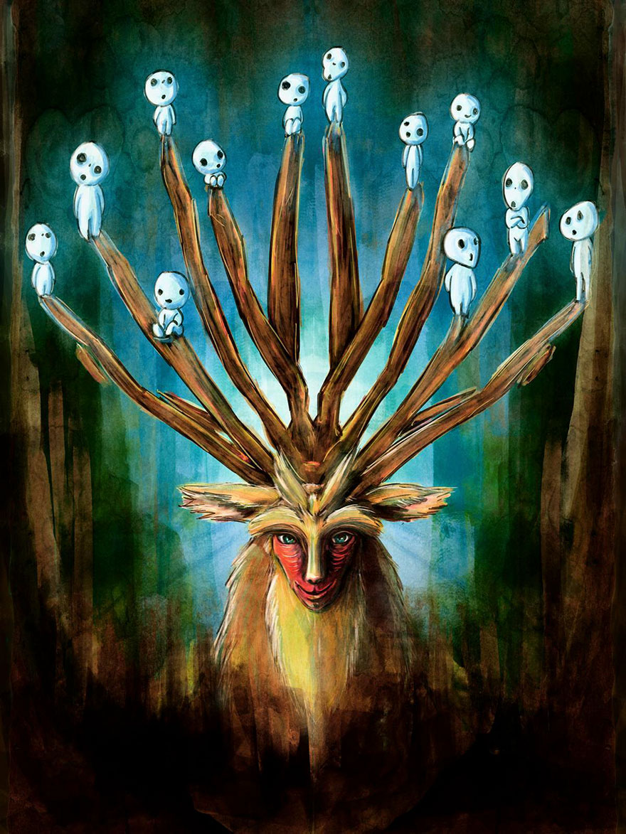 Mononoke Deer God Painting By Barrett Biggers