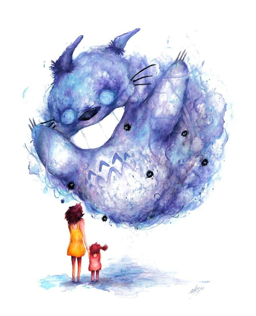 Totoro Watercolor Drawing By Marco Nabi