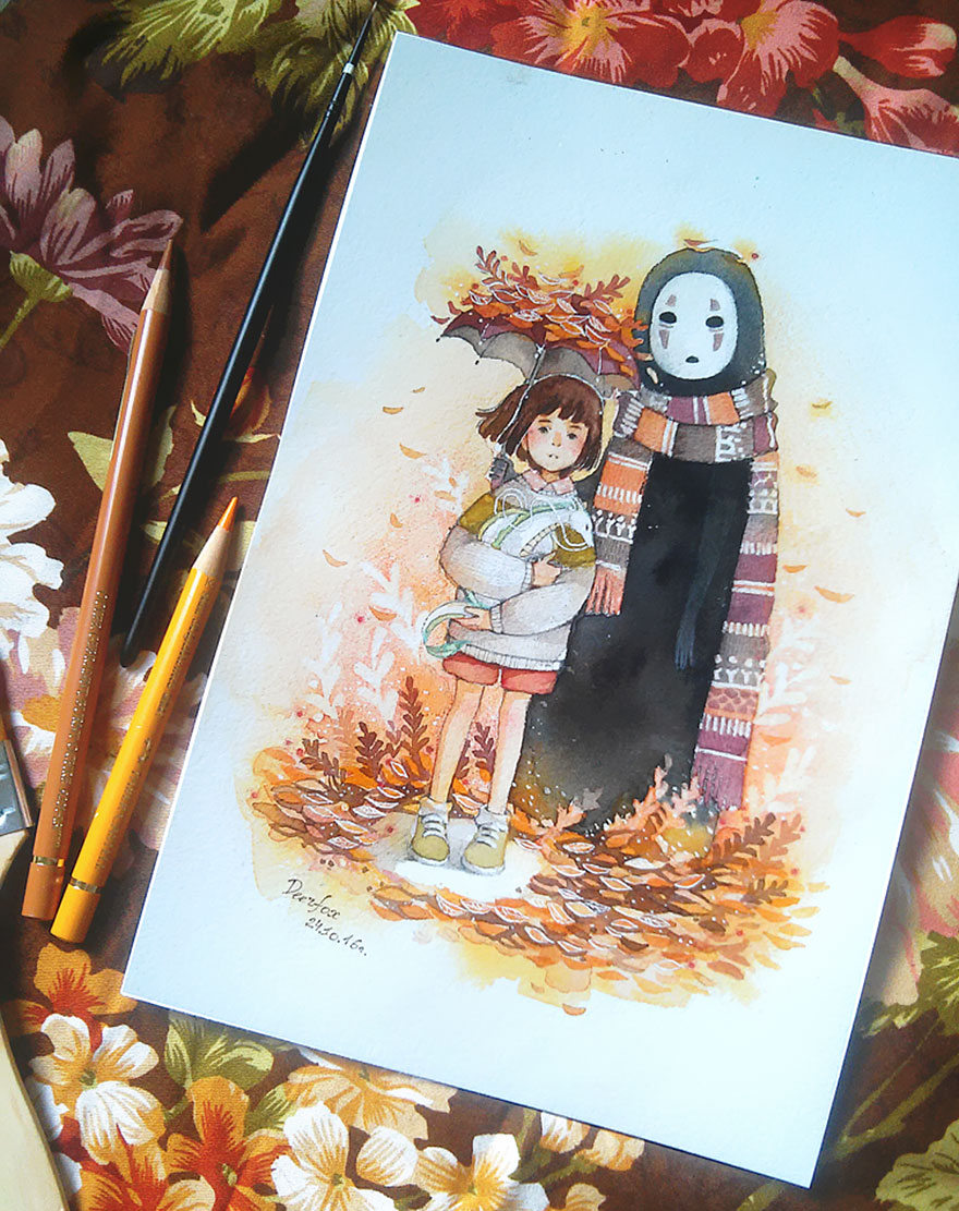Spirited Away Watercolor And Colored Pencil Drawing By Deerfox