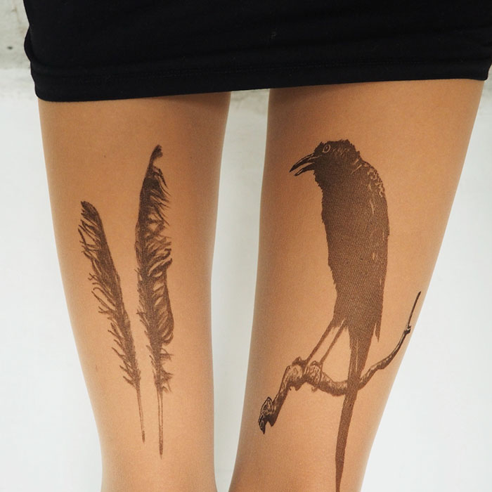 Tattoo Tights Raven Feathers