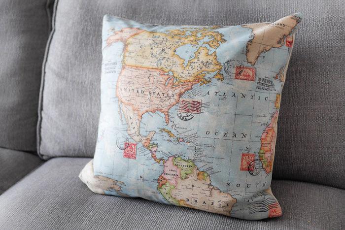 World Map Pillow
