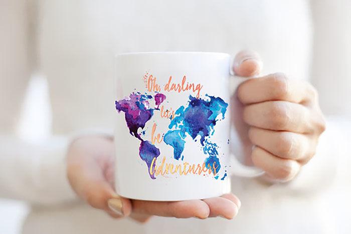 Adventurers Word Map Watercolor Mug