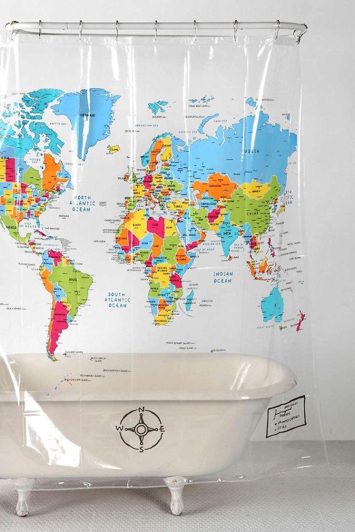 World Map Shower Curtain Bored Panda