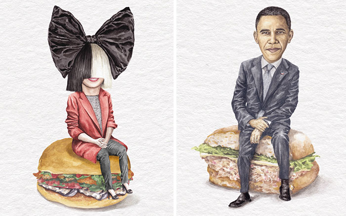 I've Made Over 100 Watercolor Paintings Of Celebs On Sandwiches