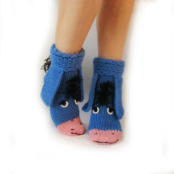 Eeyore Knitted Socks