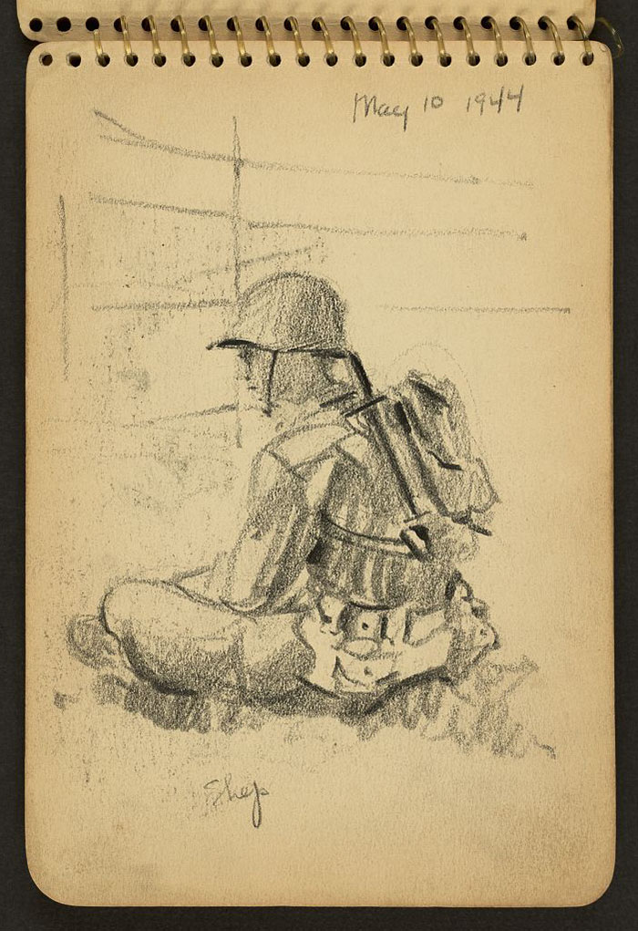 Shep Sitting Cross-Legged In His Helmet And Knapsack While Stationed At Fort Jackson, South Carolina