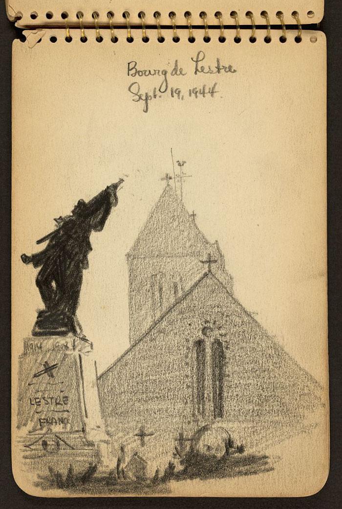 Bourg de Lestre. Church And World War I Monument In Lestre, Manche, France