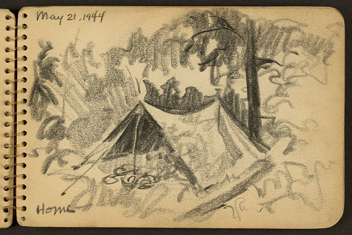 Home. Tent In Woods Drawn While Stationed At Fort Jackson, South Carolina