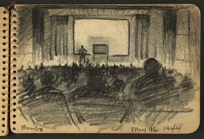 Bombs. Audience In Auditorium Listening To Lecture While Stationed At Fort Jackson, South Carolina
