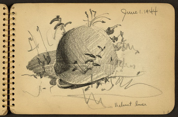 Helmet Liner On Ground Drawn While Stationed At Fort Jackson, South Carolina
