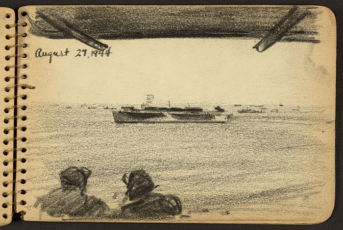 Soldiers Looking At Ship In The Distance