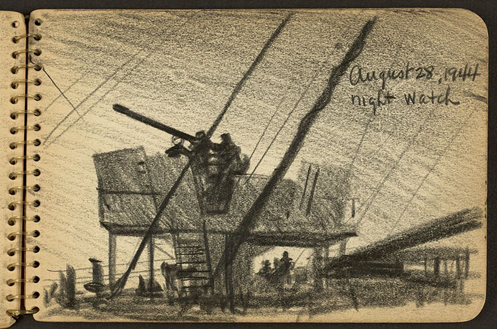 Soldiers On Watch Tower And Deck Of Ship At Night