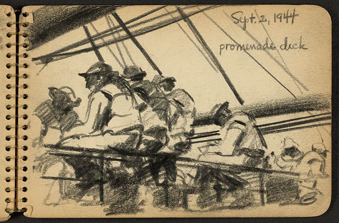 Soldiers Sitting On Promenade Deck Of Ship