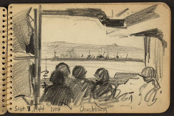 Soldiers Looking At Land In The Distance, Cherbourg