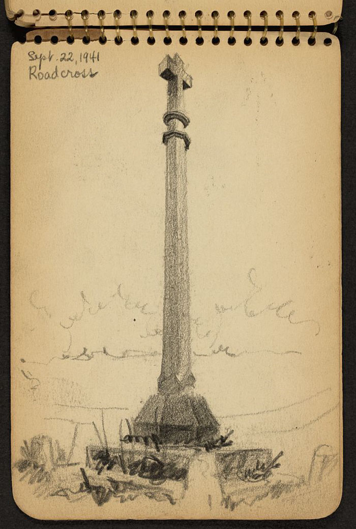 Monument With Christian Cross Atop, Probably In Manche, France