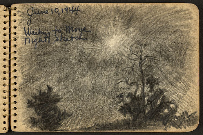 Silhouettes Of Trees In The Moonlight Drawn While Stationed At Fort Jackson, South Carolina