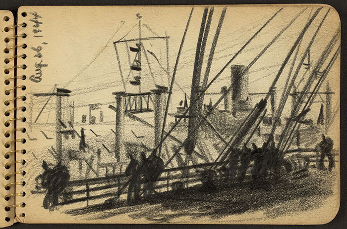 Soldiers Standing At Railing Of Ship In New York Harbor