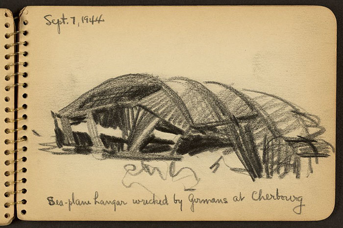 Sea-Plane Hangar Wrecked By Germans At Cherbourg, France