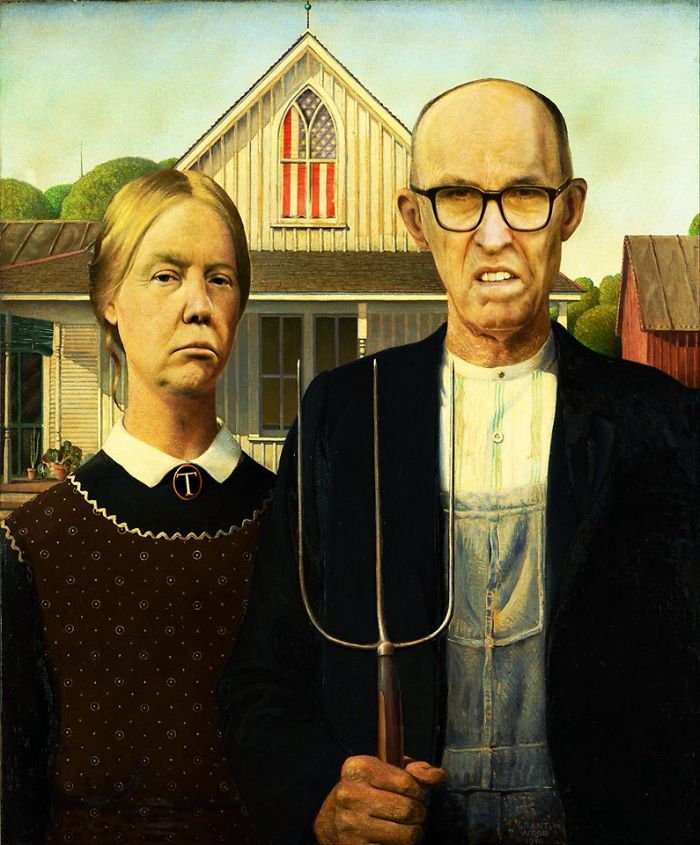 """""""american Trumpic"""", Update Of """"american Gothic"""" By Grant Wood, 1930."""