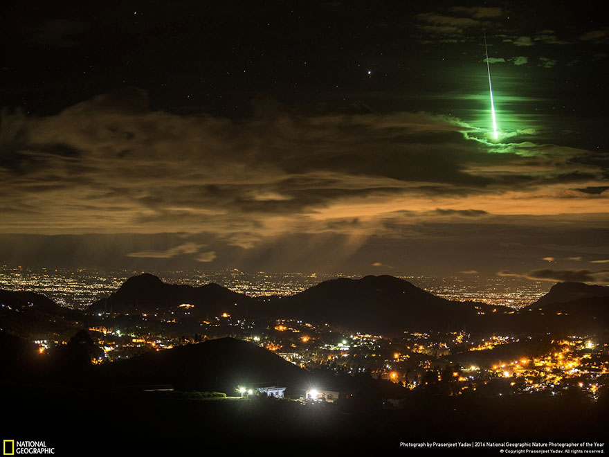 Honorable Mention, Landscape: Serendipitous Green Meteor, India