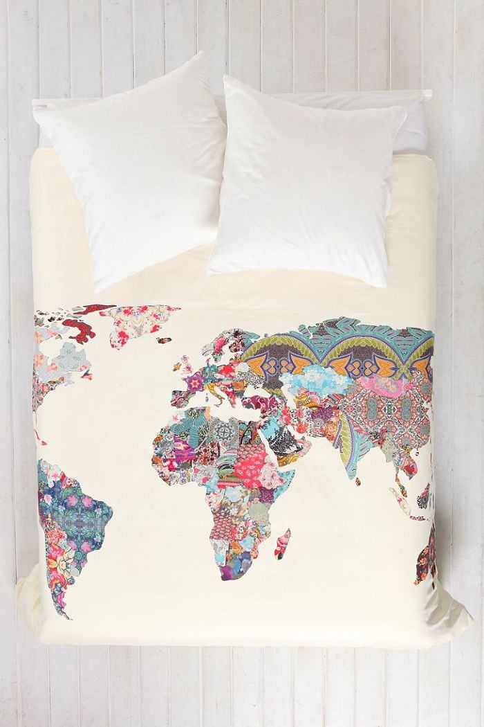 World Map Patchwork Duvet