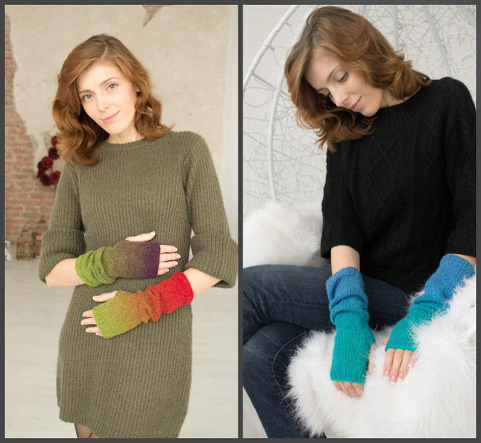 My Mom Created Beautiful Two-Colour Arm Warmers Of 'Kauni' Threads