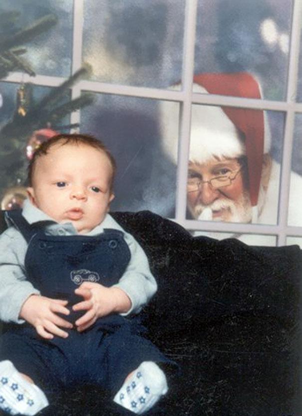 Creepy Santa Sneaks Up On Baby