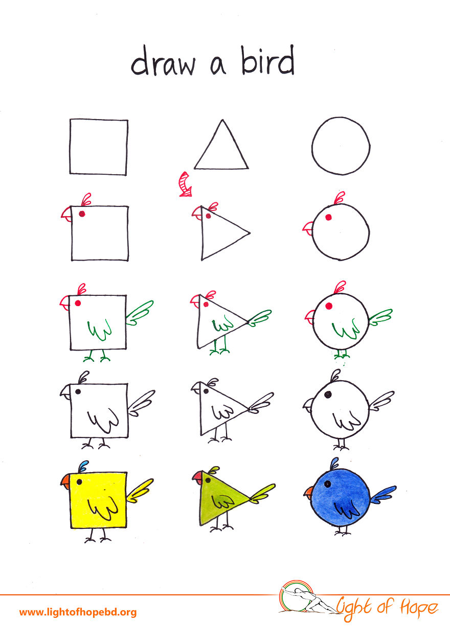 How To Draw Any Animal From A Square Triangle And Circle Diagram Bird