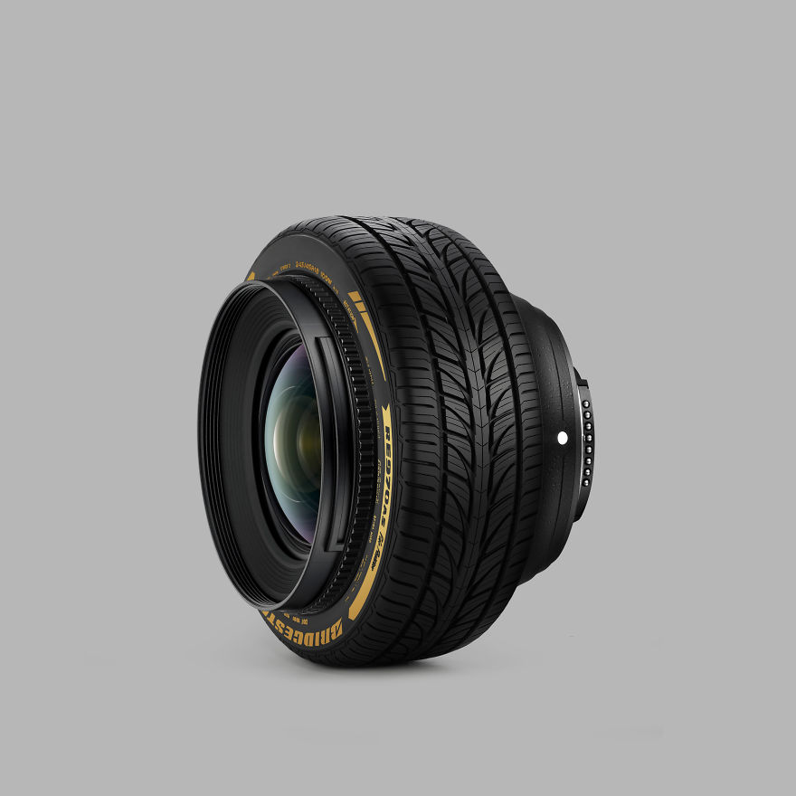 Camera Lens + Tire