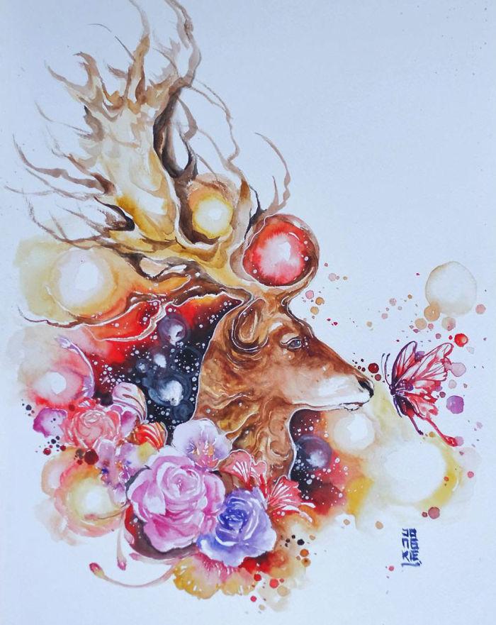 I Create Animal Spirits Trough Watercolor